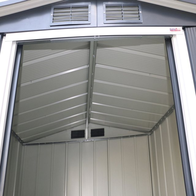 6x6 Sapphire Apex Metal Shed in Anthracite Grey - image through door of roof