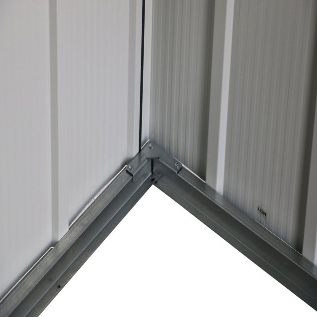 6x6 Sapphire Apex Metal Shed in Anthracite Grey - close up of lower part of wall