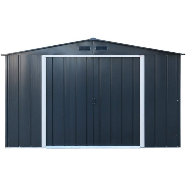 10 x 8 Sapphire Apex Metal Shed in Anthracite Grey