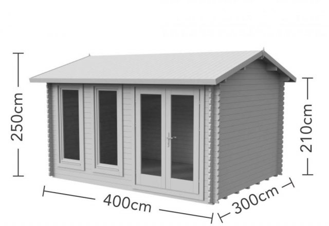 13 x 10 Forest Chiltern Log Cabin - dimensions