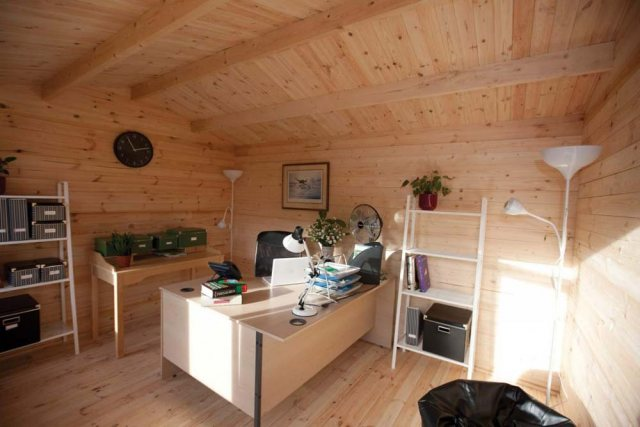 13 x 10 Forest Chiltern Log Cabin - interior set up as home office