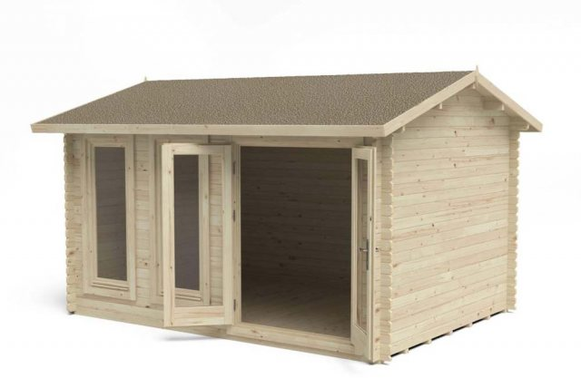 13 x 10 Forest Chiltern Log Cabin - 3/4 view doors open