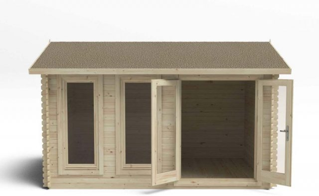 13 x 10 Forest Chiltern Log Cabin - front view doors open
