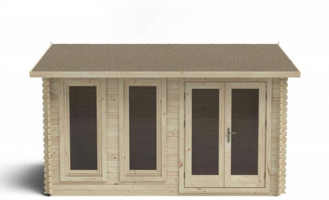 13 x 10 Forest Chiltern Log Cabin - front view doors closed