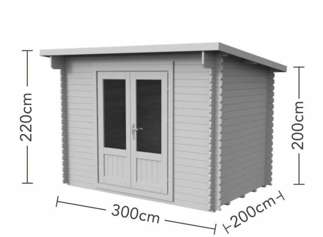 6 x 10 Forest Harwood Pent Log Cabin - dimensions