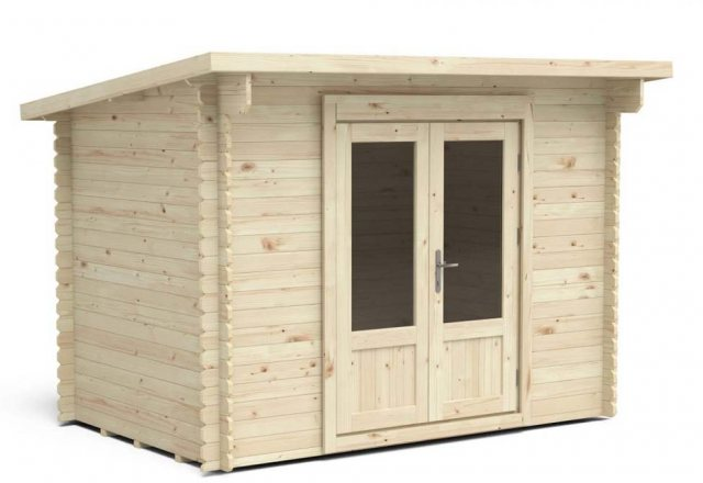 6 x 10 Forest Harwood Pent Log Cabin - 3/4 view