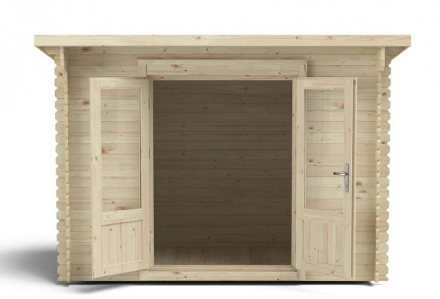 6 x 10 Forest Harwood Pent Log Cabin - front view doors open