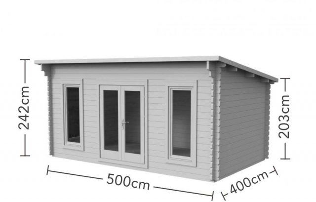 13 x 16 Forest Mendip Pent Log Cabin - dimensions