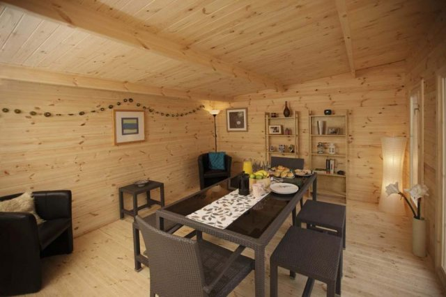 13 x 16 Forest Mendip Pent Log Cabin - set as a dining room