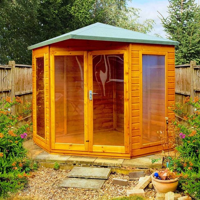 7x7 Shire Larkspur Corner Summerhouse - in natural finish