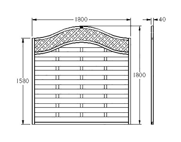 6ft High Forest Prague Fence Panels - Dimensions