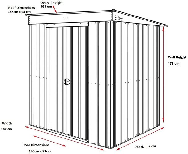 Dimensions for 5 x 3 Lotus Pent Metal Shed in Heritage Green