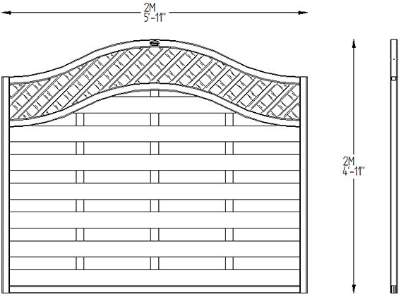 5ft High Forest Prague Fence Panels - Dimensions