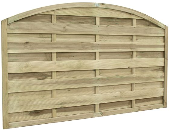"3ft 7"" High Forest Domed Fence Panels  - Isolated three quarter view"