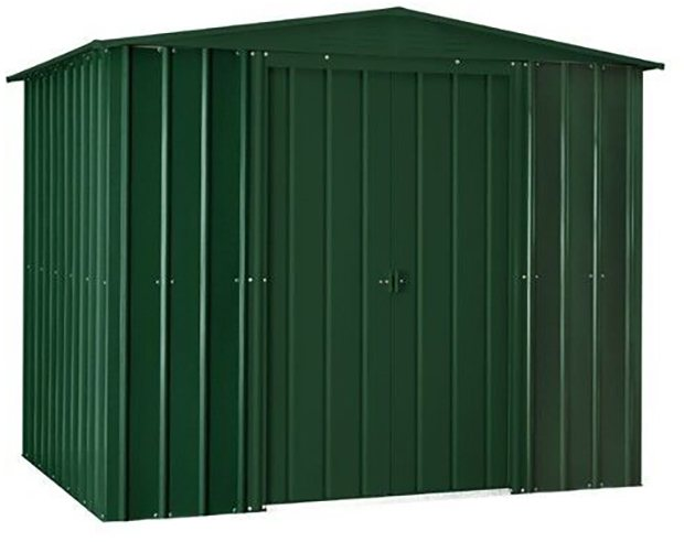 Isolated view of 8 x 5 Lotus Apex Metal Shed in Heritage Green with sliding doors closed
