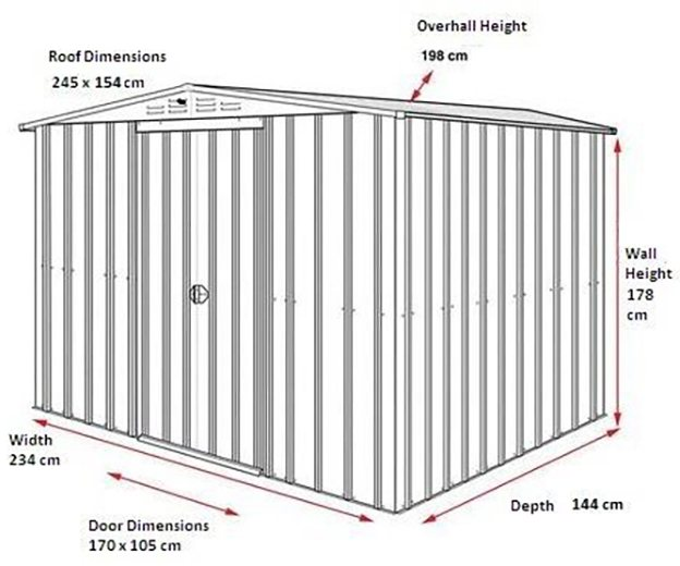 Dimensions for 8 x 5 Lotus Apex Metal Shed in Heritage Green