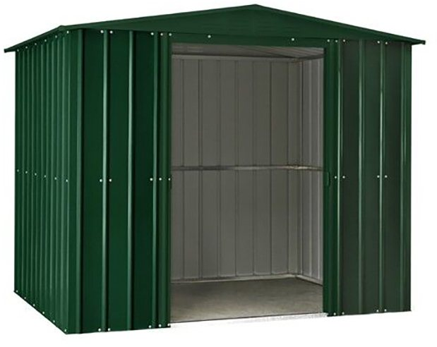 Isolated view of 8 x 5 Lotus Apex Metal Shed in Heritage Green with sliding doors open
