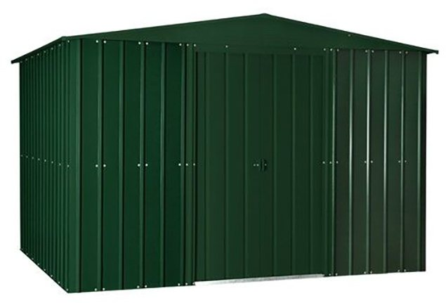 Isolated view of 10 x 8 Lotus Apex Metal Shed in Heritage Green with sliding doors closed