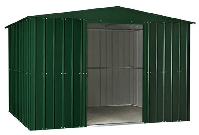 Isolated view of 10 x 8 Lotus Apex Metal Shed in Heritage Green with sliding doors open