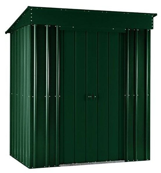 Isolated view of 6 x 4 Lotus Pent Metal Shed in Heritage Green with sliding doors closed
