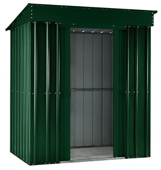 Isolated view of 6 x 4 Lotus Pent Metal Shed in Heritage Green with sliding doors open
