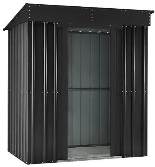 Isolated view of 8 x 4 Lotus Pent Metal Shed in Anthracite Grey with sliding doors open