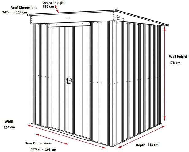 Dimensions for 8 x 4 Lotus Pent Metal Shed in Heritage Green
