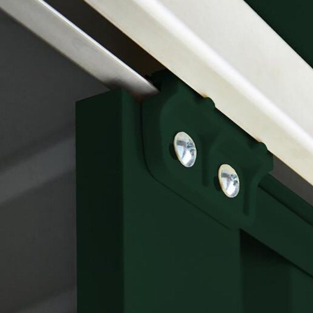 Top of sliding door mechanism on 8 x 4 Lotus Pent Metal Shed in Heritage Green
