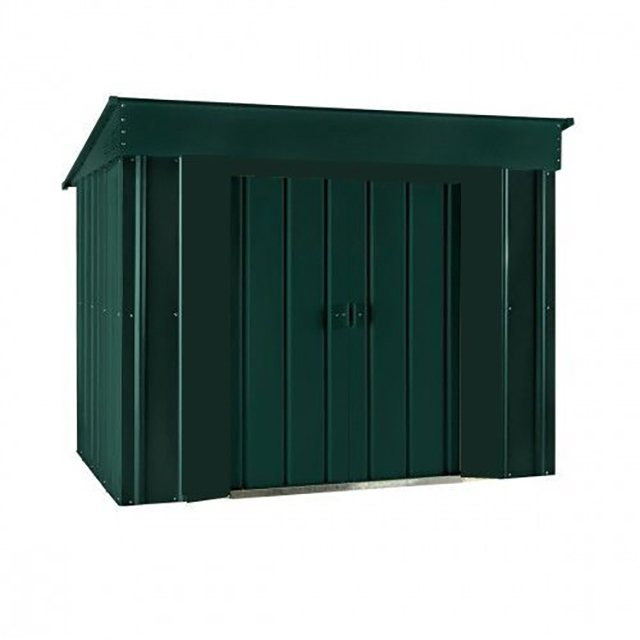 Isolated view of 6 x 4 Lotus Low Pent Metal Shed in Heritage Green with sliding doors closed
