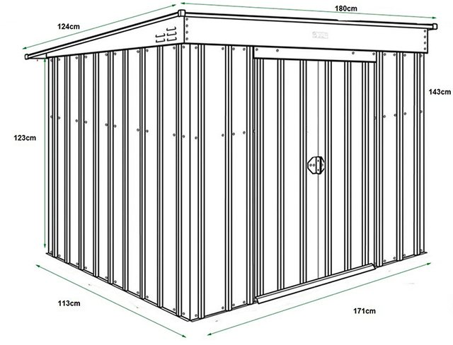 Dimensions for 6 x 4 Lotus Low Pent Metal Shed in Heritage Green
