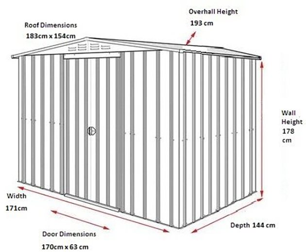 Dimensions for 6 x 5 Lotus Apex Metal Shed in Heritage Green