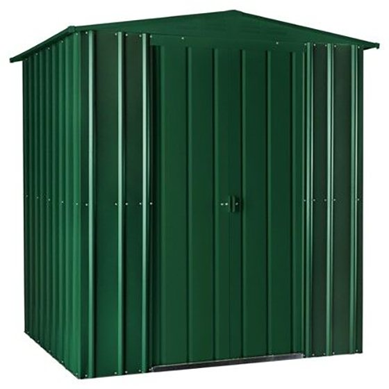 Isolated view of 6 x 8 Lotus Apex Metal Shed in Heritage Green with sliding doors closed