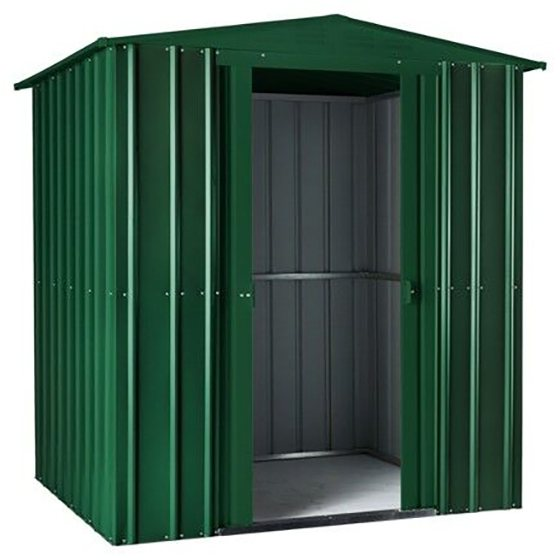 Isolated view of 6 x 8 Lotus Apex Metal Shed in Heritage Green with sliding doors open