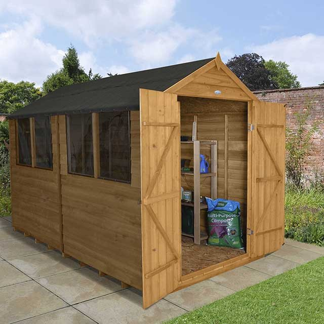 8x10 Forest Overlap Workshop Shed with Double Doors