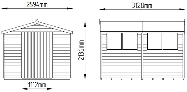 8x10 Forest Overlap Workshop Shed with Double Doors - Dimensions