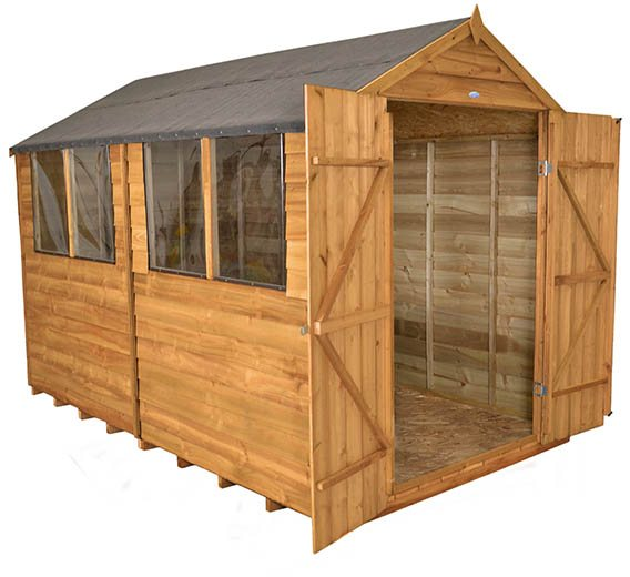 8x10 Forest Overlap Workshop Shed with Double Doors - 3/4 view