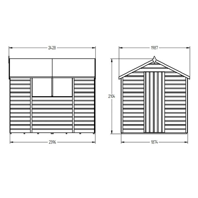 6x8 Forest Shiplap Shed - Dimensions