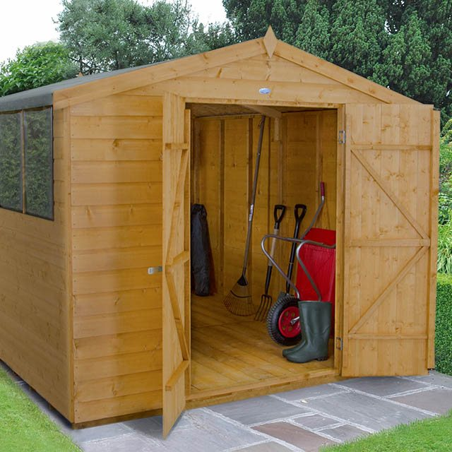 8x10 Forest Shiplap Workshop Shed with Double Doors - In situ
