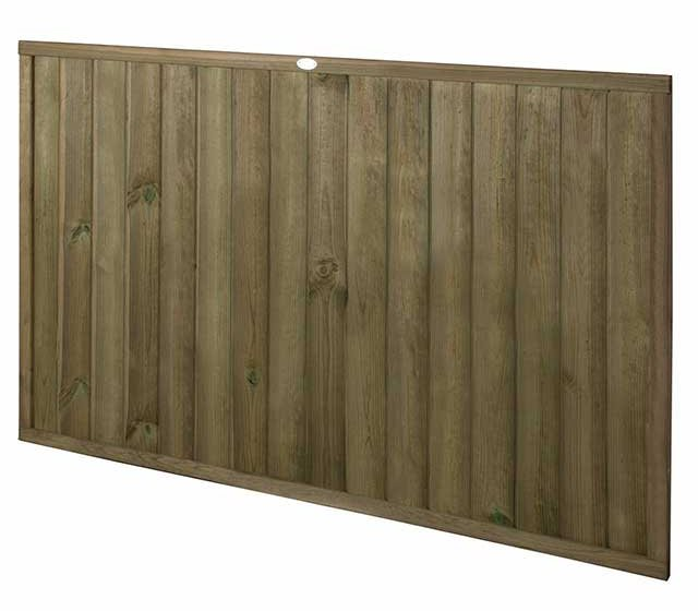 4ft High (910mm) Forest Vertical Tongue and Groove Fence Panel - isolated angled view