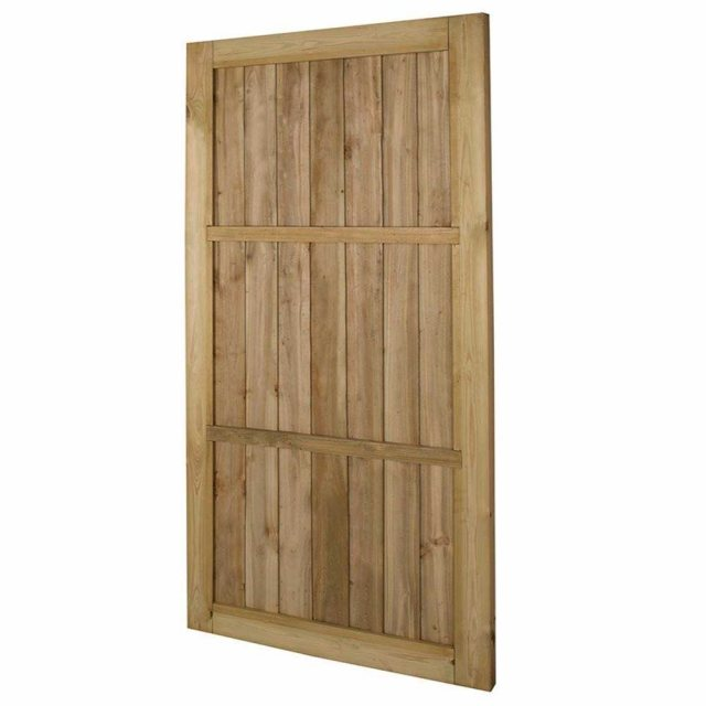 6ft High Forest Pressure Treated Square Lap Gate - Isolated angled view of back of gate