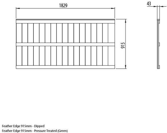 3ft High Forest Featheredge Fence Panel - Dimensions