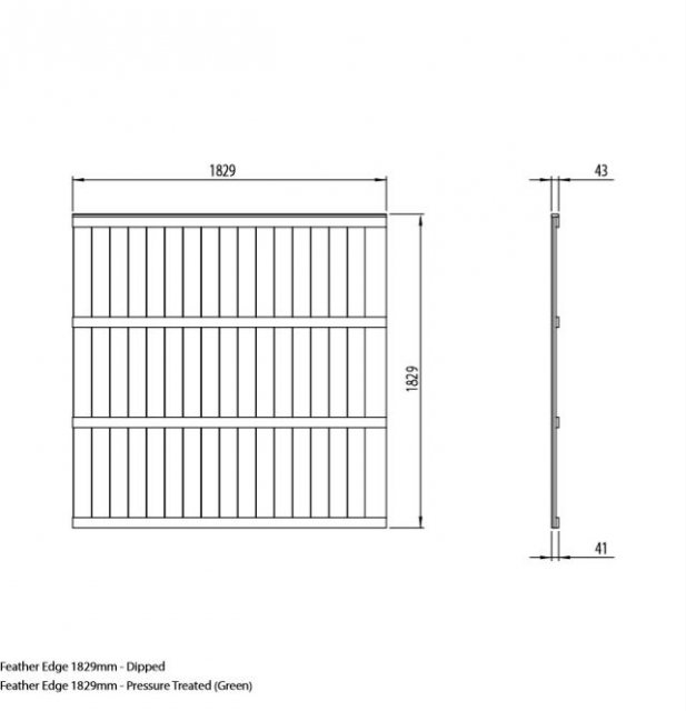 6ft High (1850mm) Forest Featheredge Fence Panel - Dimensions