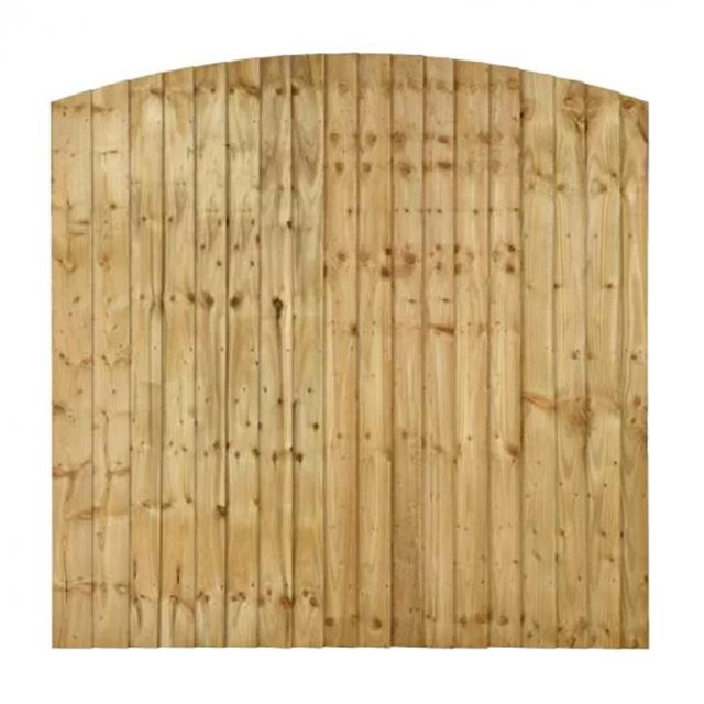 6ft High (1830mm) Forest Pressure Treated Featheredge Contractor Panel - Dome Top