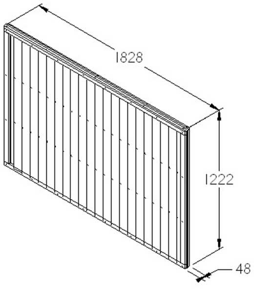 4ft High Forest Closeboard Fence Panel - Dimensions