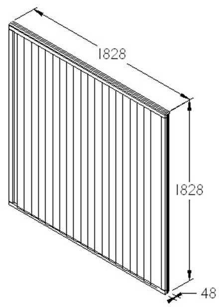 6ft High Forest Closeboard Fence Panel - Dimensions