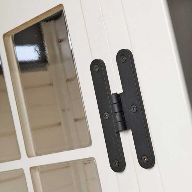 Shire Tuscany EVO 240 Plastic Pent Store - detail of hinges and glazing