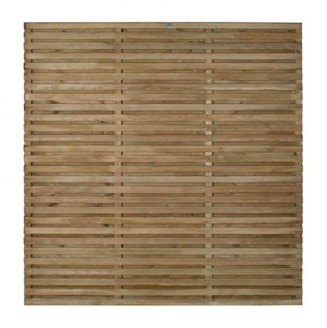 6ft High (1800mm) Forest Double Slatted Fence Panel - Pressure Treated