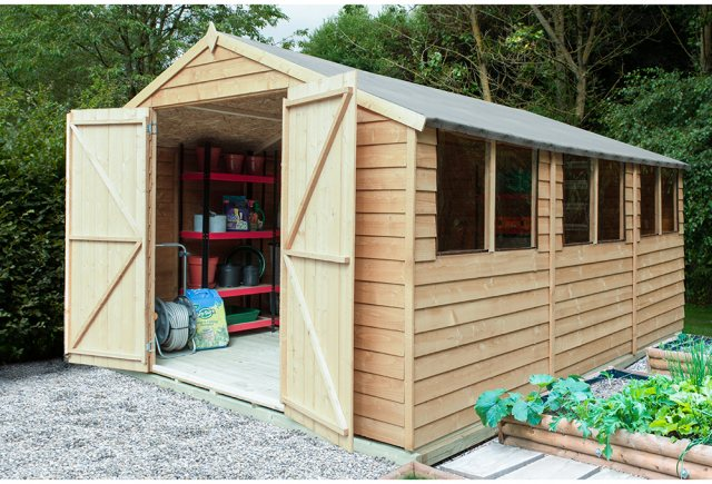 15 x 10 Forest Overlap Double Door Pressure Treated Apex Workshop Shed