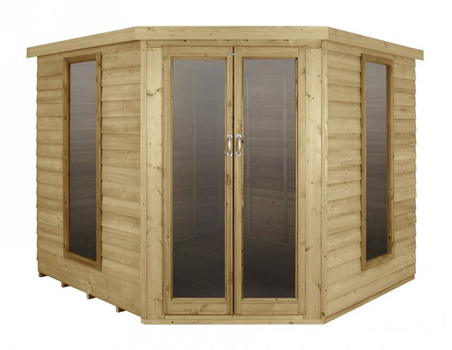 8 x 8 Forest Oakley Corner Summerhouse - Pressure Treated - Front view
