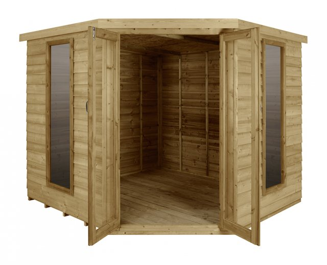 8 x 8 Forest Oakley Corner Summerhouse - Pressure Treated - front view doors open